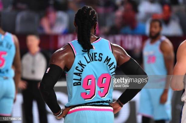 Jae Crowder of the Miami Heat wears Black Lives Matter on his jersey during a game against the Indiana Pacers on August 10, 2020 at the Visa Athletic...