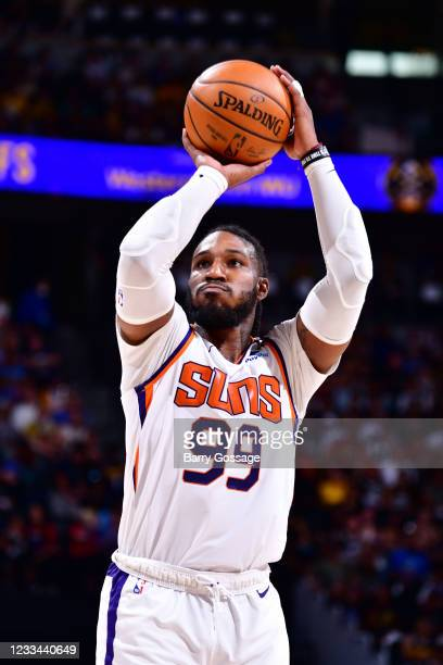 Jae Crowder of the Phoenix Suns shoots a free throw during Round 2, Game 4 of the 2021 NBA Playoffs on June 13, 2021 at the Ball Arena in Denver,...