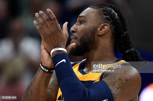 Jae Crowder of the Utah Jazz applauds after a game against the Phoenix Suns at Vivint Smart Home Arena on February 14 2018 in Salt Lake City Utah...