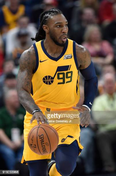Jae Crowder of the Utah Jazz brings the ball up court against the Phoenix Suns during a game at Vivint Smart Home Arena on February 14 2018 in Salt...