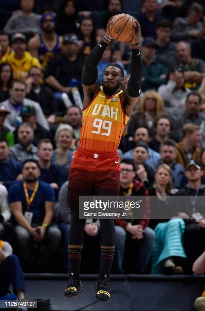 Jae Crowder of the Utah Jazz catches a pass in a NBA game against the San Antonio Spurs at Vivint Smart Home Arena on February 09 2019 in Salt Lake...