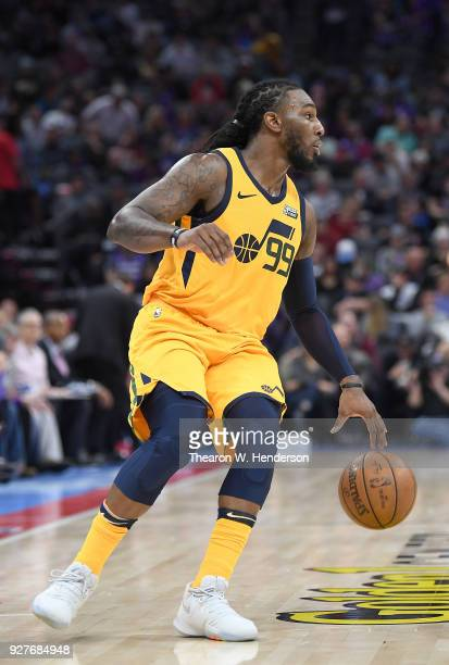 Jae Crowder of the Utah Jazz dribbles the ball against the Sacramento Kings during an NBA basketball game at Golden 1 Center on March 3 2018 in...