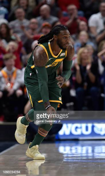 Jae Crowder of the Utah Jazz gestures after his three point basket in the first half of a NBA game against the Houston Rockets at Vivint Smart Home...
