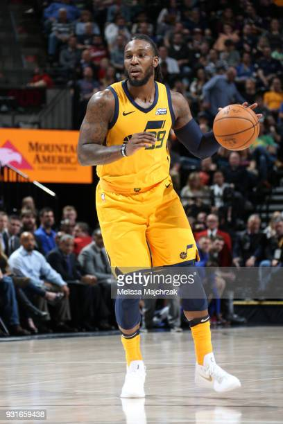 Jae Crowder of the Utah Jazz handles the ball against the Detroit Pistons on March 13 2018 at vivintSmartHome Arena in Salt Lake City Utah NOTE TO...