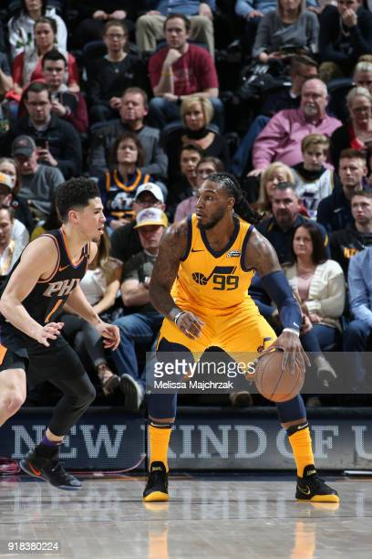 Jae Crowder of the Utah Jazz handles the ball against the Phoenix Suns on February 14 2018 at Vivint Smart Home Arena in Salt Lake City Utah NOTE TO...