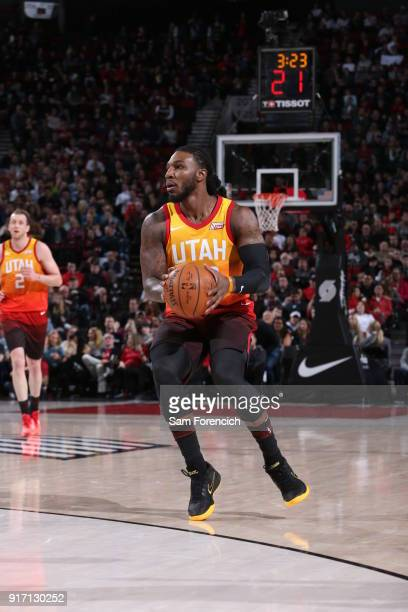 Jae Crowder of the Utah Jazz handles the ball against the Portland Trail Blazers on February 11 2018 at the Moda Center in Portland Oregon NOTE TO...
