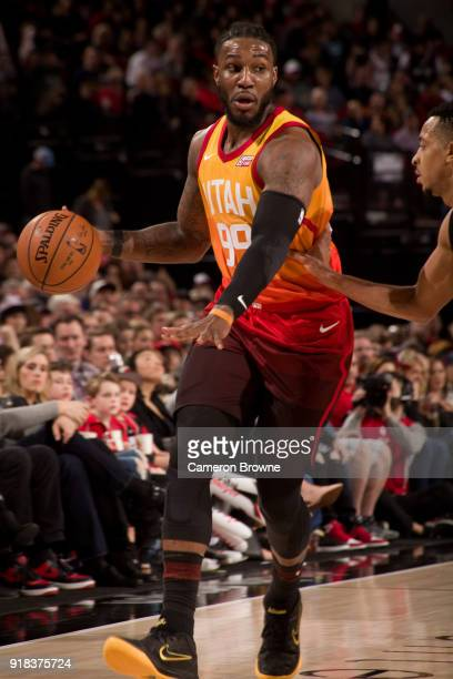 Jae Crowder of the Utah Jazz handles the ball against the Portland Trail Blazers on February 11 2018 at the Moda Center Arena in Portland Oregon NOTE...