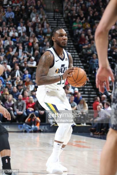 Jae Crowder of the Utah Jazz handles the ball against the San Antonio Spurs on February 12 2018 at vivintSmartHome Arena in Salt Lake City Utah NOTE...