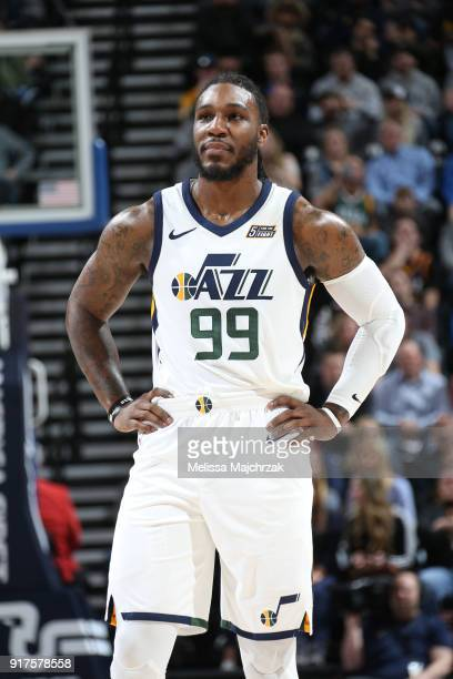 Jae Crowder of the Utah Jazz looks on during the game against the San Antonio Spurs on February 12 2018 at vivintSmartHome Arena in Salt Lake City...