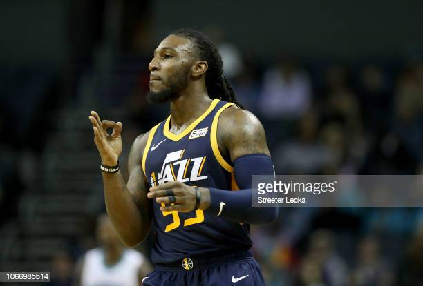 Jae Crowder of the Utah Jazz reacts after a play against the Charlotte Hornets during their game at Spectrum Center on November 30 2018 in Charlotte...