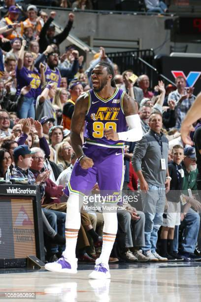 Jae Crowder of the Utah Jazz reacts against the Dallas Mavericks on November 7 2018 at vivintSmartHome Arena in Salt Lake City Utah NOTE TO USER User...