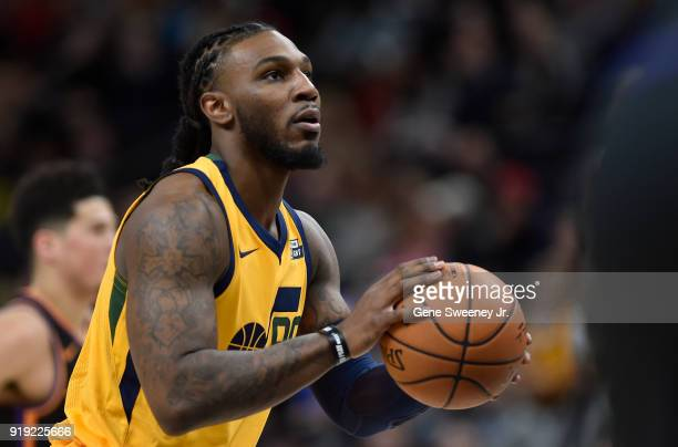 Jae Crowder of the Utah Jazz readies a free throw shot against the Phoenix Suns during a game at Vivint Smart Home Arena on February 14 2018 in Salt...
