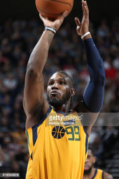 Jae Crowder of the Utah Jazz shoots a free throw against the Phoenix Suns on February 14 2018 at Vivint Smart Home Arena in Salt Lake City Utah NOTE...