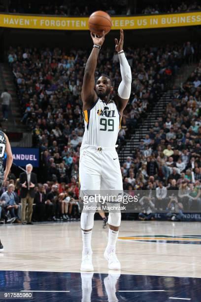 Jae Crowder of the Utah Jazz shoots a free throw against the San Antonio Spurs on February 12 2018 at vivintSmartHome Arena in Salt Lake City Utah...