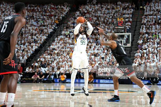 Jae Crowder of the Utah Jazz shoots the ball against the Houston Rockets during Game Four of Round One of the 2019 NBA Playoffs on April 22 2019 at...