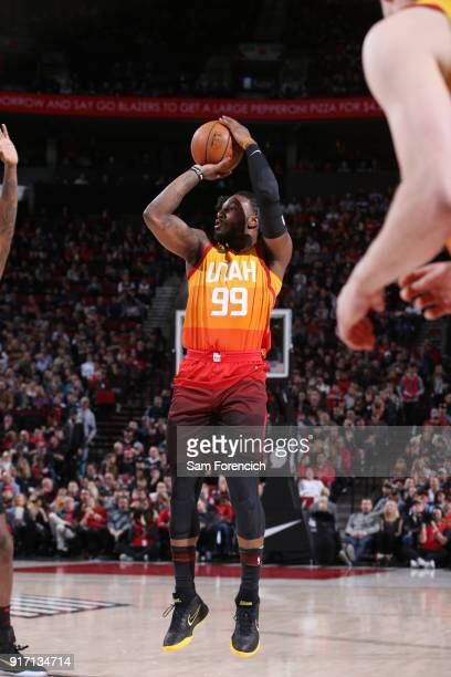 Jae Crowder of the Utah Jazz shoots the ball against the Portland Trail Blazers on February 11 2018 at the Moda Center in Portland Oregon NOTE TO...