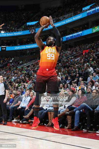 Jae Crowder of the Utah Jazz shoots the ball against the Sacramento Kings on March 17 2018 at vivintSmartHome Arena in Salt Lake City Utah NOTE TO...