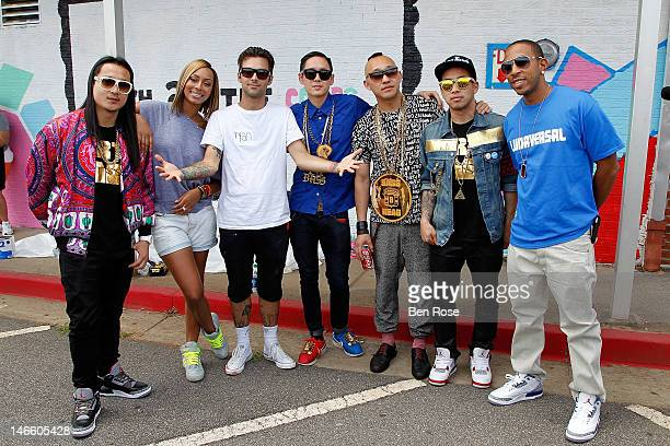 Jae J Splif Choung Keri Hilson artist Thank You X Kevin Kev Nish Nishimura James Prohgress Roh DJ Virman and Chris Ludacris Bridges pose in front of...