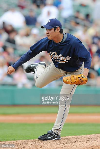 Jae Kuk Ryu of the San Diego Padres pitches against the Arizona Diamondbacks during a Spring Training game at Tucson Electric Park on March 9 2009 in...
