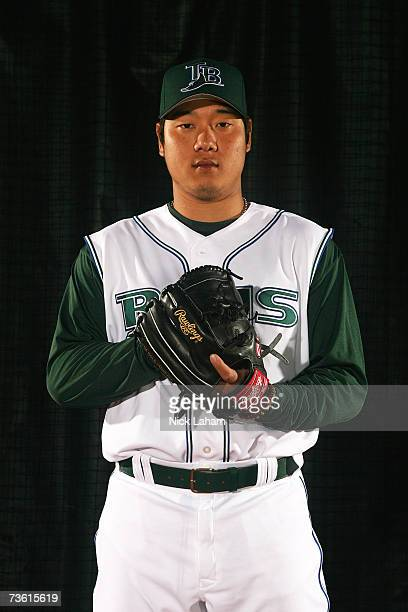 Jae Kuk Ryu poses during Tampa Bay Devil Rays Photo Day on February 27 2006 at the Raymond A Naimoli Baseball Complex in St Petersburg Florida