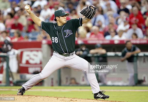 Jae Seo of the Tampa Bay Devil Rays pitches in the 2nd inning against the Los Angeles Angels of Anaheim at Angel Stadium on July 14, 2006 in Anaheim,...
