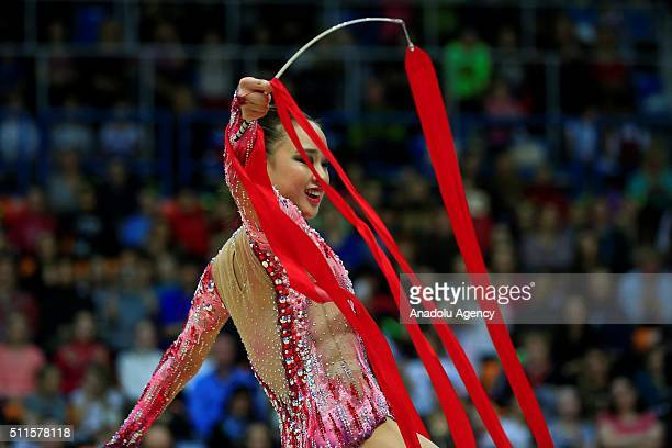 Jae Son of Korea performs the ribbon exercise in the final of the International Rhythmic Gymnastics Championship at the Alina Cup Grand Prix 2016...