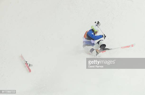Jae Woo Choi of Korea crashes in the Freestyle Skiing Men's Moguls Final on day three of the PyeongChang 2018 Winter Olympic Games at Phoenix Snow...