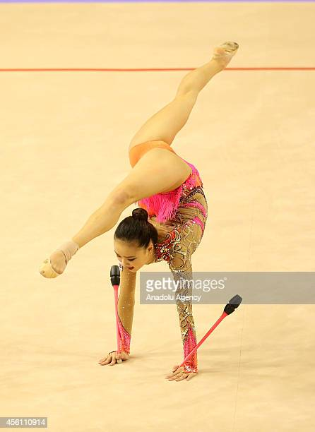 Jae Yeon Son of South Korea competes during the 33rd Rhythmic Gymnastics World Championships final in Izmir Turkey on September 25 2014