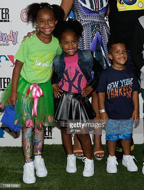 Jaeden Arie Sabathia Cyia Sabathia and Carter Sabathia attend the CCandy Children's Clothing Line Launch at MLB Fan Cave on August 8 2013 in New York...