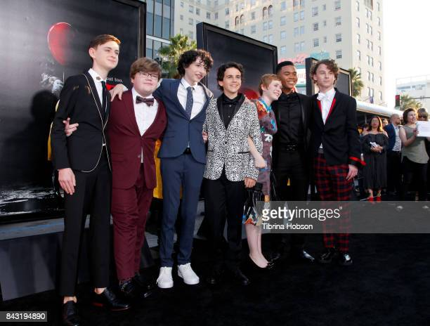 Jaeden Lieberher Jeremy Ray Taylor Finn Wolfhard Jack Dylan Grazer Sophia Lillis Chosen Jacobs and Wyatt Oleff attend the premiere of 'It' at TCL...