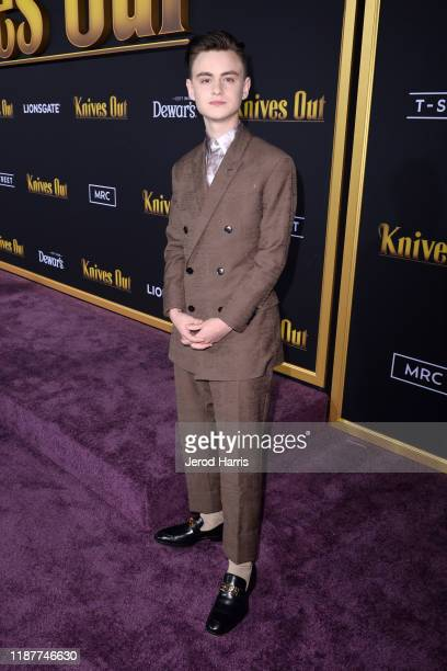 Jaeden Martell arrives at the Premiere of Lionsgate's 'Knives Out' at Regency Village Theatre on November 14, 2019 in Westwood, California.