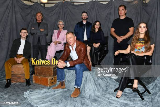 Jaeden Martell, Don Johnson, Jamie Lee Curtis, Daniel Craig, Chris Evans, Ana de Armas, Michael Shannon and Katherine Langford attend the photocall...
