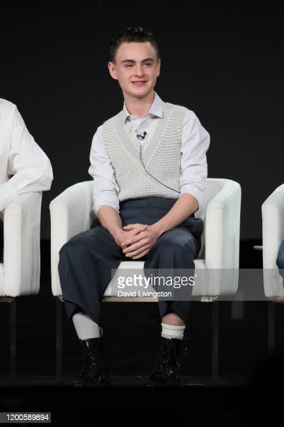 Jaeden Martell of Defending Jacob speaks onstage during the Apple TV segment of the 2020 Winter TCA Tour at The Langham Huntington Pasadena on...