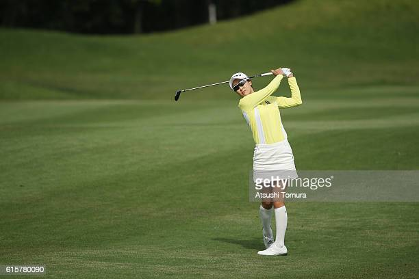 JaeEun Chung of South Korea hits her second shot on the 10th hole during the first round of the Nobuta Group Masters GC Ladies at the Masters Golf...
