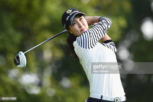 JaeEun Chung of South Korea hits her tee shot on the 2nd hole during the second round of the 50th LPGA Championship Konica Minolta Cup 2017 at the...