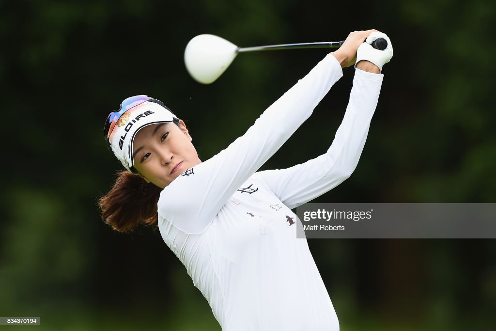 Jae-Eun Chung of South Korea hits her tee shot on the 4th hole during the first round of the CAT Ladies Golf Tournament HAKONE JAPAN 2017 at the Daihakone Country Club on August 18, 2017 in Hakone, Kanagawa, Japan.
