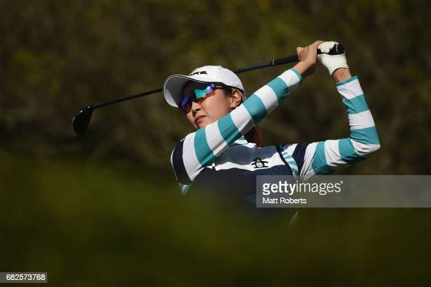 JaeEun Chung of South Korea hits her tee shot on the 5th hole during the second round of the HokennoMadoguchi Ladies at the Fukuoka Country Club...