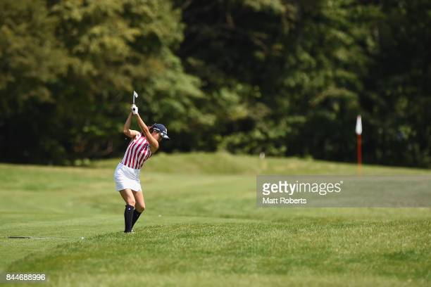 JaeEun Chung of South Korea plays her approach shot on the 11th hole during the third round of the 50th LPGA Championship Konica Minolta Cup 2017 at...
