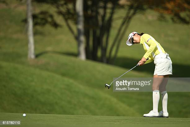 JaeEun Chung of South Korea putts on the 10th hole during the first round of the Nobuta Group Masters GC Ladies at the Masters Golf Club on October...
