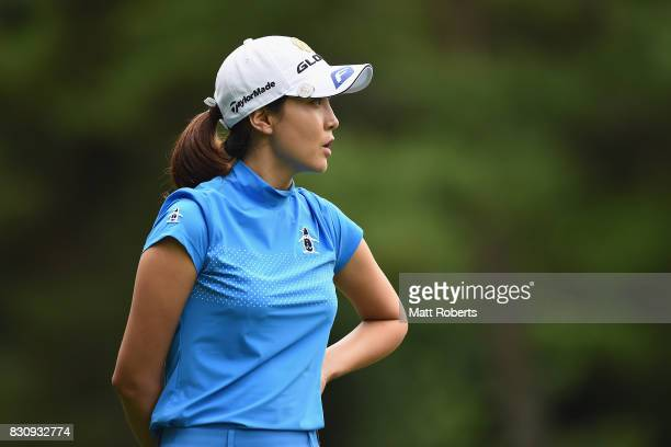 JaeEun Chung of South Korea reacts during the final round of the NEC Karuizawa 72 Golf Tournament 2017 at the Karuizawa 72 Golf North Course on...