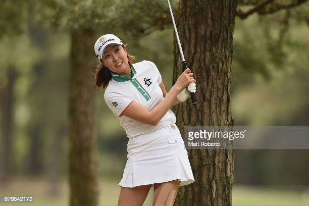 JaeEun Chung of South Korea reacts during the third round of the World Ladies Championship Salonpas Cup at the Ibaraki Golf Club on May 6 2017 in...