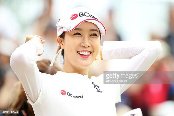 JaeEun Chung of South Korea smiles during the first round of the Munsingwear Ladies Tokai Classic at the Shin Minami Aichi Country Club Mihama Course...