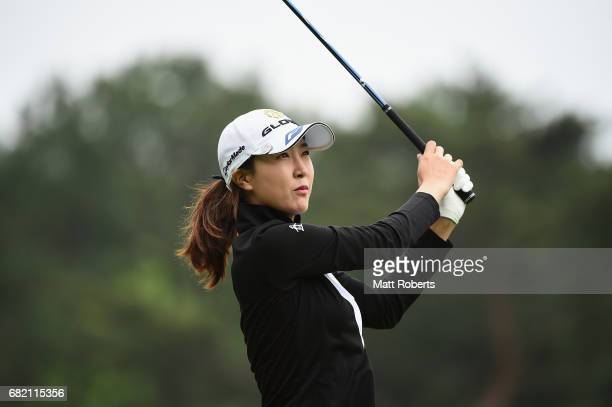 JaeEun Chung of South Korea watches her tee shot on the 10th hole during the first round of the HokennoMadoguchi Ladies at the Fukuoka Country Club...
