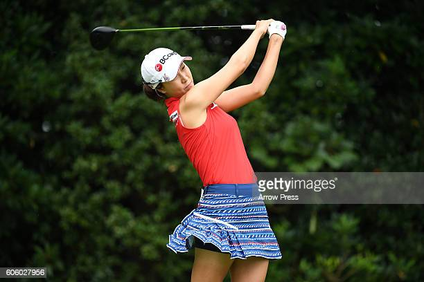 JaeEun Chung of Southkorea hits her tee shot on the 2nd hole during the first round of the Munsingwear Ladies Tokai Classic 2016 at the Shin Minami...