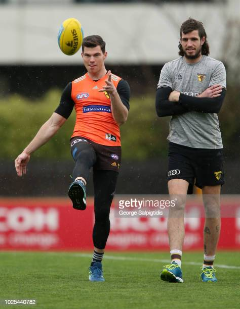Jaeger O'Meara and Ben Stratton of the Hawks during a Hawthorn Hawks AFL training session at Waverley Park on August 31 2018 in Melbourne Australia