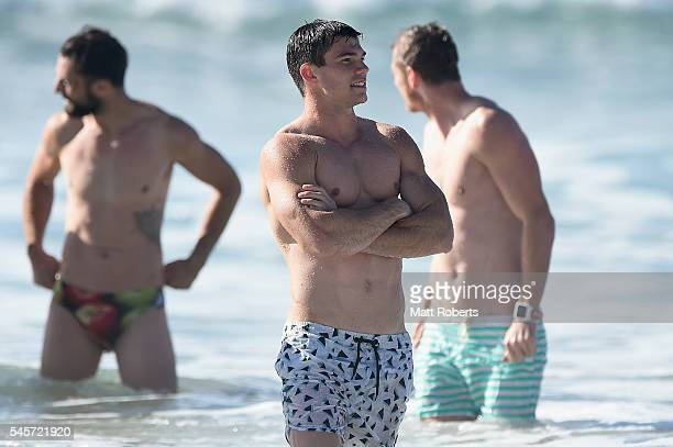 Jaeger O'Meara attends a Gold Coast Suns AFL recovery session at Kurrawa SLSC on July 10 2016 in Gold Coast Australia