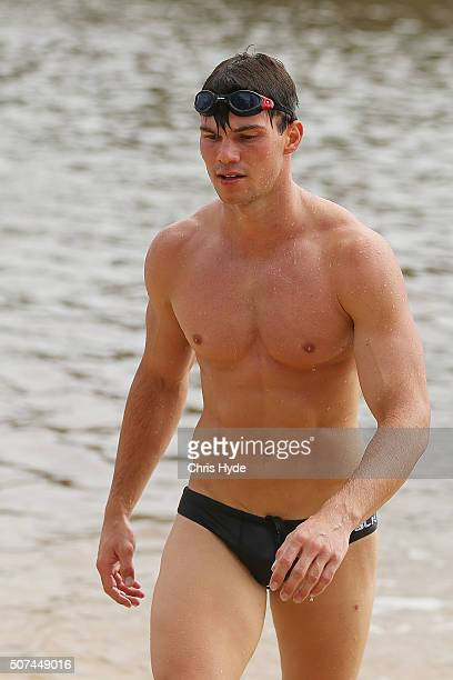 Jaeger O'Meara during a Gold Coast Suns AFL beach training session on January 30 2016 in Gold Coast Australia