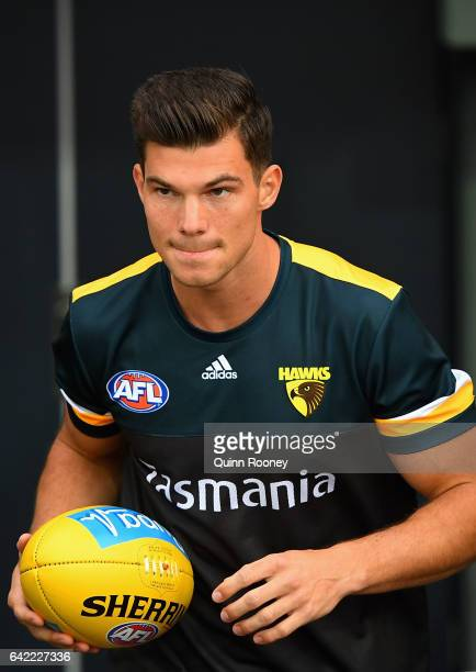 Jaeger O'Meara of the Hawks comes out for warm up during the 2017 JLT Community Series match between the Hawthorn Hawks and the Geelong Cats at...