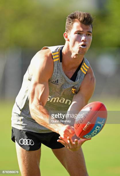 Jaeger O'Meara of the Hawks handballs during a Hawthorn Hawks AFL preseason training session at Waverley Park on November 20 2017 in Melbourne...