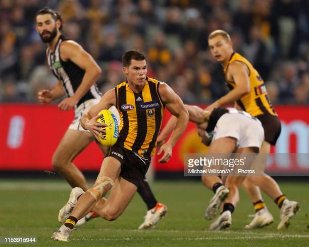 Jaeger O'Meara of the Hawks in action during the 2019 AFL round 16 match between the Hawthorn Hawks and the Collingwood Magpies at the Melbourne...